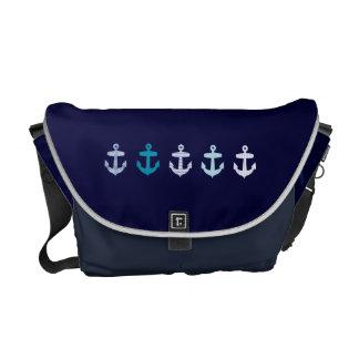 Diseño azul náutico de las anclas - bolso de la ma bolsa messenger