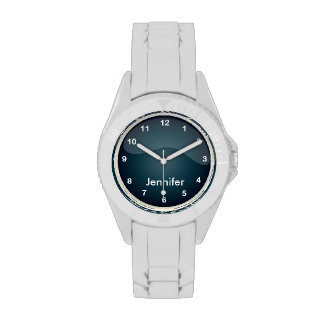 Diseño azul oscuro personalizado de Jean que se Reloj