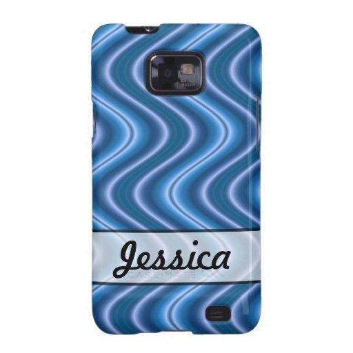 Diseño azul personalizado de la onda samsung galaxy SII funda