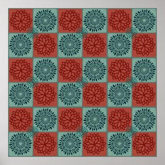 Diseño azul rojo del arte de la flor del modelo de impresiones