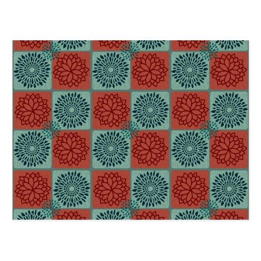 Diseño azul rojo del arte de la flor del modelo de tarjetas postales