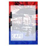 Diseño azul rojo del arte pop del café fresco de l pizarras blancas