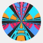 Diseño azul rosado moderno del semicírculo pegatina redonda
