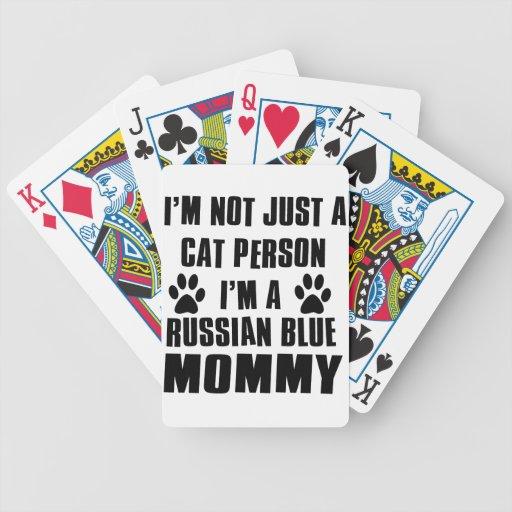 Diseño azul ruso del gato del camisetas cartas de juego