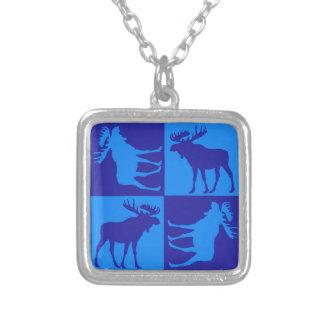Diseño azul rústico del cuadrado de los alces colgante cuadrado
