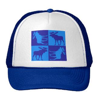 Diseño azul rústico del cuadrado de los alces gorras de camionero
