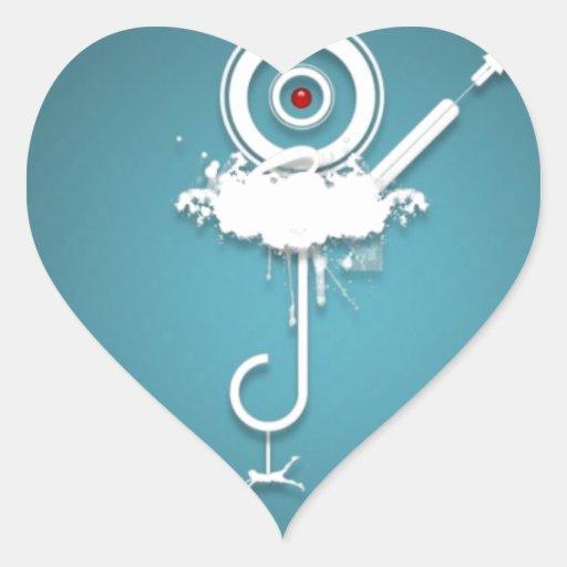 Diseño azul salvaje abstracto calcomanía corazón personalizadas
