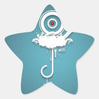 Diseño azul salvaje abstracto pegatina en forma de estrella