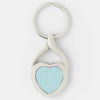 Diseño azul y blanco de la guinga llavero plateado en forma de corazón