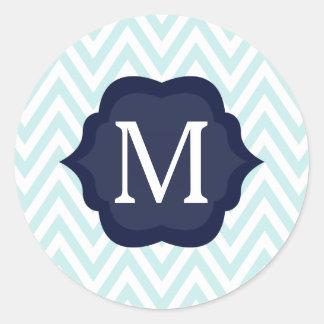 Diseño azul y blanco de la menta de Chevron de la Etiqueta Redonda