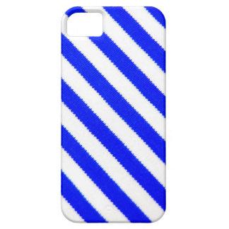 Diseño azul y blanco de las rayas iPhone 5 carcasa