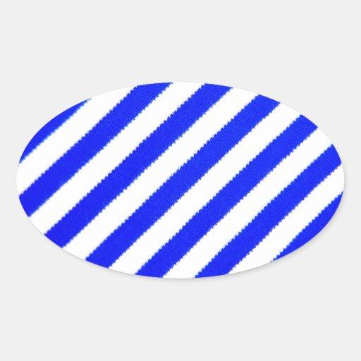 Diseño azul y blanco de las rayas pegatina ovalada
