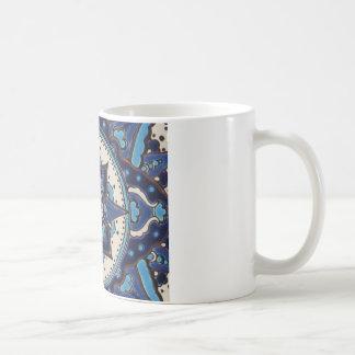 Diseño azul y blanco del arte turco del vintage de taza de café