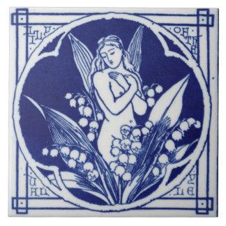 Diseño azul y blanco del vintage de la teja c1875