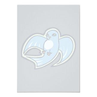 """Diseño azul y blanco dulce del dibujo de la tinta invitación 5"""" x 7"""""""