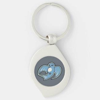 Diseño azul y blanco dulce del dibujo de la tinta llavero plateado en forma de espiral