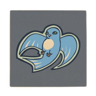 Diseño azul y blanco dulce del dibujo de la tinta posavasos de madera