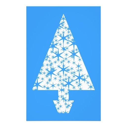 Diseño azul y blanco elegante del árbol de navidad tarjetas publicitarias