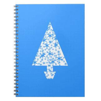 Diseño azul y blanco elegante del árbol de navidad libros de apuntes