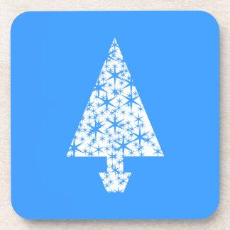 Diseño azul y blanco elegante del árbol de navidad posavasos de bebida