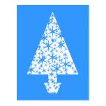Diseño azul y blanco elegante del árbol de navidad postal