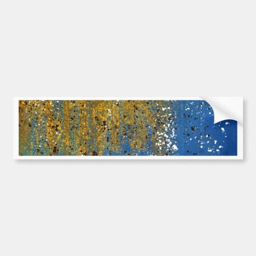 Diseño azul y de bronce abstracto pegatina de parachoque
