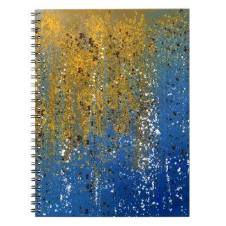 Diseño azul y de bronce abstracto libro de apuntes
