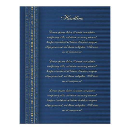 Diseño azul y de oro festivo membretes personalizados