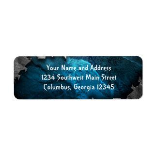 Diseño azul y de plata del metal de la piedra del etiqueta de remite
