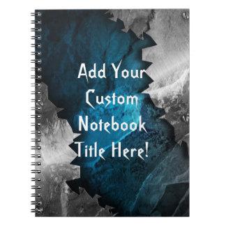 Diseño azul y de plata del metal/de la piedra del libro de apuntes