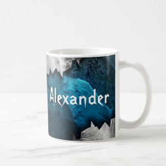 Diseño azul y de plata del metal de la piedra del tazas de café
