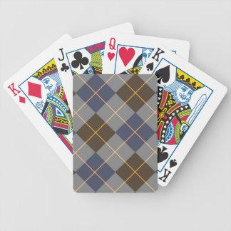Diseño azul y gris de Argyle Baraja Cartas De Poker