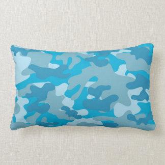 Diseño azul y gris de Camo Cojín Lumbar