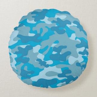 Diseño azul y gris de Camo Cojín Redondo