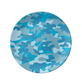 Diseño azul y gris de Camo Platos De Cerámica