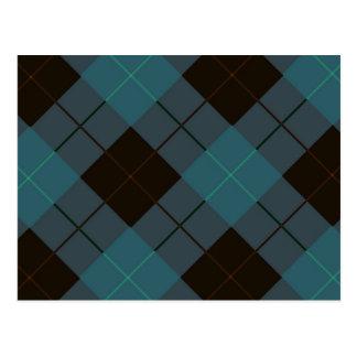 Diseño azul y negro de la tela escocesa tarjetas postales