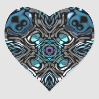 Diseño azul y negro hermoso del embutido pegatina en forma de corazón