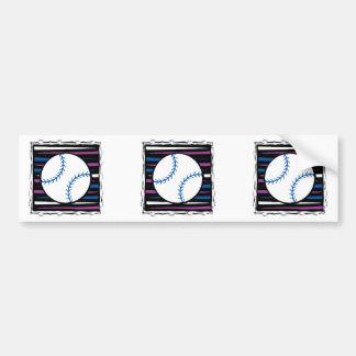 diseño azul y púrpura del béisbol pegatina de parachoque