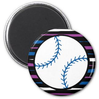 diseño azul y púrpura del béisbol imán redondo 5 cm