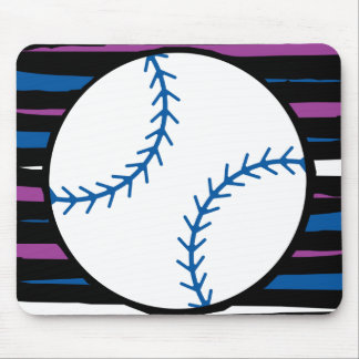 diseño azul y púrpura del béisbol mousepads