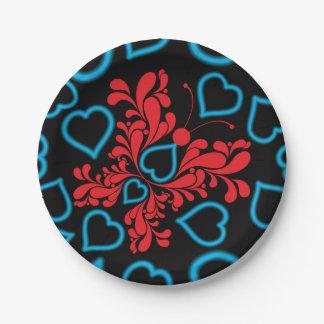 Diseño azul y rojo del corazón de la mariposa plato de papel de 7 pulgadas