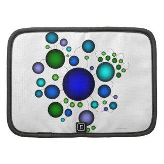 Diseño azul y verde geométrico del círculo organizadores