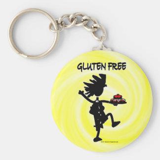 Diseño banal Gluten-Libre de la silueta Llavero Redondo Tipo Pin