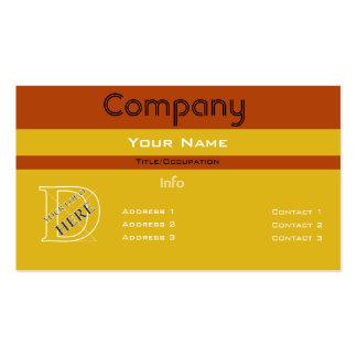 Diseño barrado amarillo Color-Simple de encargo Tarjeta De Visita