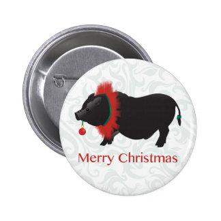 Diseño barrigón de las Felices Navidad del cerdo Pin Redondo 5 Cm