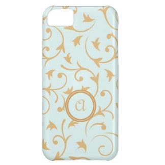Diseño barroco con el azul y el oro personalizados