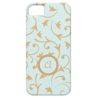 Diseño barroco con el azul y el oro personalizados iPhone 5 cárcasa