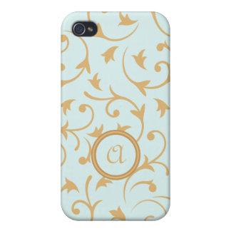 Diseño barroco con el azul y el oro personalizados iPhone 4 protectores