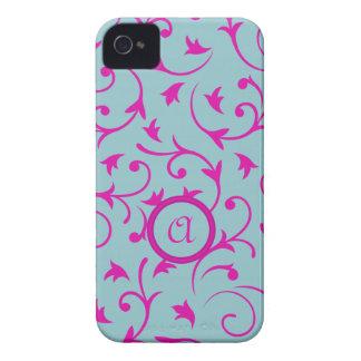 Diseño barroco con rosa personalizado y el azul de Case-Mate iPhone 4 fundas