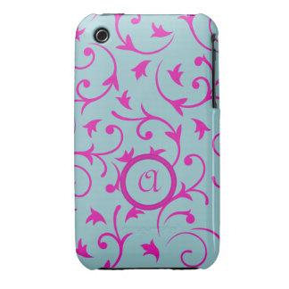 Diseño barroco con rosa personalizado y el azul de Case-Mate iPhone 3 carcasas